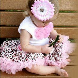 Wholesale Leopard Outfits For Babies - retail 2016 summer baby Girls leopard lace set Kids Flowers Top +tutu Skirt Leopard Outfits Clothes for 1-4T 3set lot