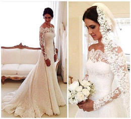 Wholesale Vintage French Lace Wedding Dress - 2017 Romantic French Lace Wedding Dresses Long Sleeve Bateau Neck Ivory Court Train Bridal Gowns Custom with Appliques CJ0303
