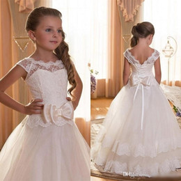 Wholesale Girls Long Gowns Dresses - 2016 Ivory Cute First Communion Dresses For Girls Sheer Crew Neck Cap Sleeves Lace Top Corset Back Princess Long Kid's Formal Wear with Bow