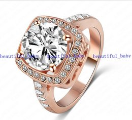 Wholesale Swa Elements - Big Promotion Real 18K Rose Gold  Platinum Plated SWA Element Austrian Crystal Engagement Rings free shipping