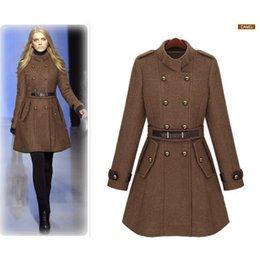 Wholesale Wholesale Wool Jackets - Women Slim Coat Long Sleeve Outerwear with Belt Autumn Winter Stand Collar Windbreaker Lady Double Breasted Coat Jacket
