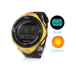 Wholesale silicone alarm - Wholesale-Boys Sports Watch Solar Power Digital Multi-Functional Men Rubber Silicone Band Wrist Watch LED Display Alarm Clock Male Hour