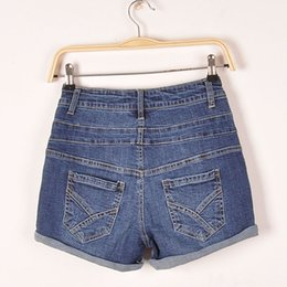 Wholesale Denim Roll High - Wholesale-Women's all match high quality high waist jeans Lady's roll up hem denim shorts Female washed pants Free shipping