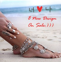 Wholesale Ethnic Anklets - 1 pair new 2015 Gypsy Antique tibetan Silver Turkish Coin barefoot sandals sandbeach wedding bridal Anklet Bracelet chain trible ethnic