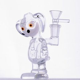 Wholesale Pretty Males - Bong Glass Bongs Dino Bong Glass Water Pipes Oil Rigs Pretty Puppy Shape 14.4mm Male Joint Cheap Pipes Bubbler Discount Cheap