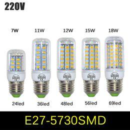 Wholesale E14 11w - 2pcs lot Full New 7W 11W 12W 15W 18W E27 LED Corn Bulb 110V 220V SMD 5730 LED lamp light Chandelier 24LEDs,36LEDs,48LEDs,56LEDs,69LEDs
