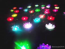 Wholesale Chinese Floating Flowers Lanterns - 19 CM LED Flying lantern wishing lanterns Chinese Floating Garden Water Pond Artificial lotus flower lamp Wishing Christmas Party Lamp