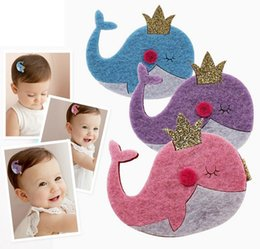 Wholesale Dolphin Clip - SALE! Felt Glitter Dolphin Hair Clips Pink Blue Purple Cartoon Hairpin Cute Fashion Animal Hairpins Girls Pretty Kid Tiara Hair Grips 30PCS