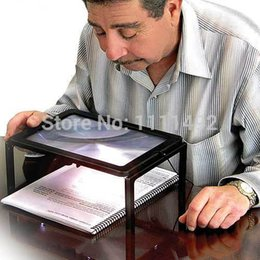 Wholesale Lighted Desk Magnifiers - Yellowrock A4 Full Page Large Hands Free Desk Magnifying Glass Magnifier With 4 LED Light for Reading Sewing Knitting 9188