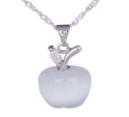 Wholesale White Opal Pendant 925 - Hot Selling! 925 Sterling Silver Opal Cat's Eye Pink White Apple Necklace Pendant Christmas Wedding Party Birthday Gift DG201