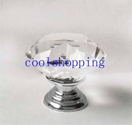 Wholesale Door Handle Cupboard Knob Crystal - 40mm Clear Diamond Shape Crystal Glass Pull Handle Cupboard Cabinet Drawer Door Furniture Knob