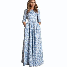 Wholesale Digital Print Runway - HIGH QUALITY New 2015 Russian Fashion S S Runway Maxi Dress Women's 3 4 Sleeve Blue Floral Digital Printed Casual Long Dress