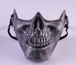 2019 máscara facial de la media del cráneo del airsoft 2015 regalo nuevo cráneo esqueleto Airsoft paintball media cara máscara protectora para Halloween máscara máscaras del partido TY931 rebajas máscara facial de la media del cráneo del airsoft