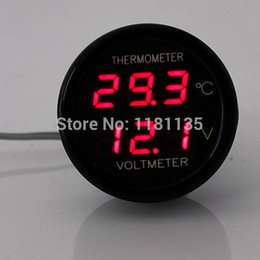Wholesale Voltmeter Auto - Auto Car Red LED Digital Display 2 In 1 Dual Voltmeter Thermometer 12V FREE SHIPPING