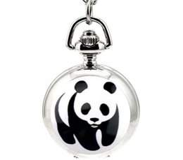 Wholesale Panda Pocket Watch - Hot sales Unique design Fashion quartz National treasure panda enamel Animation cartoon Quartz pendant Necklace pocket watch