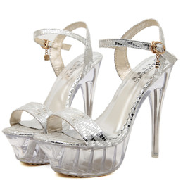Wholesale Sexy Club Heels - Plus Size 40 41 42 43 Sexy Women Dance Shoes Party Club Wedding Shoes High Heel Sandals Silver Gold