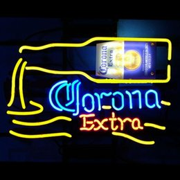 """Wholesale Corona Neon Beer Lights - New Corona Extra Beer Signs Bar Sign Real Glass Neon Light Beer Arts Crafts Gifts Sign 17""""X14"""""""
