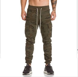 Wholesale Camouflage Pant Wide Leg - Wholesale free shipping Camouflage Side Pockets Harem Pants Mens Elastic Ankle Zipper Drawstring Camo Joggers Hip Hop Military Sweatpant