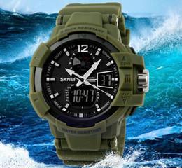 Wholesale Mens Waterproof Swimming Watches - Wholesale Skmei S Shock 50m Waterproof Military Mens Army Wrist Watch Swim Dive Climb Hunt Green 1040