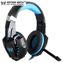 Wholesale Pc Computers Laptops - KOTION EACH G9000 3.5mm Gaming Headset Headband Game Headphones with Mic LED Light for PC Laptop Phones Phones Xbox ONE PS4