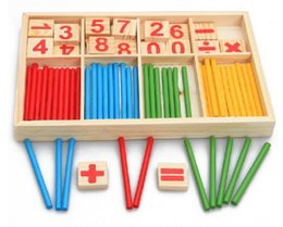 Wholesale Toy Wood Block Box - Baby Toys Counting Sticks Education Wooden Toys Building Intelligence Blocks Montessori Mathematical Wooden Box Children Gift