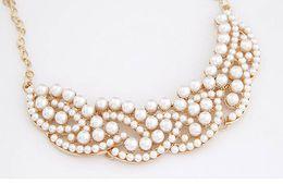Wholesale Vintage Pearl Collar Necklace - Free Shipping Women New Elegant Vintage Imitation Pearl Hollowed Golden Choker Bib Collar Necklace
