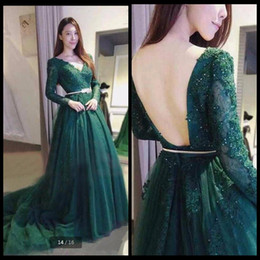 Wholesale Vintage Pearl Belt - Hot Sale Green Lace Prom Dress with Gold Belt A Line Long Sleeve Appliques Beaded Prom Gowns Backless Sexy Formal Prom Dresses