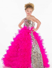 Wholesale Cheap Bling Beads - 2016 Cheap Girl's Pageant Dresses Girl Flower Dresses Collection Girl's Pageant Dresses Cute Princess One Shoulder Bling