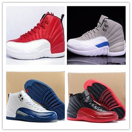 Wholesale Red Light Taxi - 2017 cheap retro 12 wool XII basketball shoes ovo white Flu Game wolf grey Gym red taxi gamma french blue Suede sneaker Size Eur 40-47