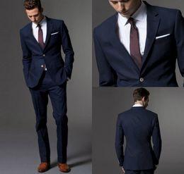 Wholesale tie for dark blue suit - Custom Made Dark Navy Blue Men Suits 2017 Fashion Suit Wedding Suits For Men Slim Fit Groom Tuxedos For Best Man (Jacket+Pants+Tie)