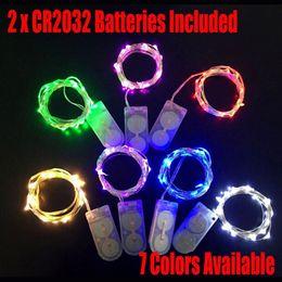 luces de neón blancas rollo Rebajas CR2032 con pilas 2M 20LEDS micro led de luz de cuerda de hadas Alambre de cobre led cadena vacaciones con decoraciones de luz moneda con pilas