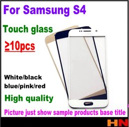 Wholesale replacement screen for s4 - 10pcs New Touch Glass For Samsung Galaxy S4 I9500 i9505 i337 For Front Screen Glass Lens Black White With Free Shipping Replacement Repair