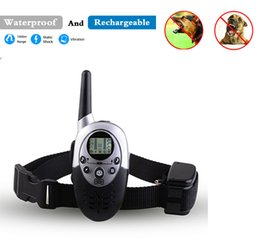 Wholesale Remote Controlled Electric Shock Collar - 2016 New 1000M Waterproof Rechargeable LCD Remote Pet Dog Training Collar Electric Shock Control Mascotas Vibrador Anti Free Shipping