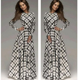 Wholesale Slim Line Evening Dress - Women Sexy Bohemia Long Dresses Evening Party Fashion Dress Long Sleeve Stripe 2015 Autumn Winter Slim A Full-Length Dresses CC-412-3