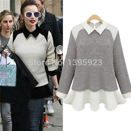 Wholesale Sweaters Womens Pullovers Knitwear - Hot Selling 2015 New Womens Fashion Sweaters Chiffon Patchwork Knitwear Long Sleeve Pullovers Casual Tops Plus Size