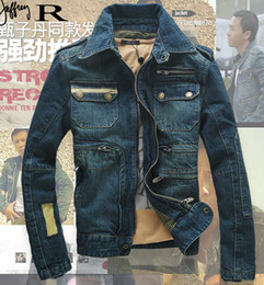 Wholesale Embroidery Sequin Patch - Vintage Military Jacket New 2015 Denim Jacket Men Fashion Brand Hole Slim Blue Jean Jackets For Men,Winter Men Coat Outdoors Top