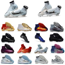 Wholesale Soccer Shoe Sizing - Hot 2018 Men Womens Kids Football Shoes Size 35-45 Mercurial Superfly V Ronaldo CR7 TF IC FG Soccer Shoes Soccer Boots Soccer Cleats