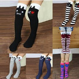 tights for toddlers Coupons - Toddlers Kids Girls Knee High Socks School Cotton Tights Striped Stockings for Girls 1-8Y JIA705