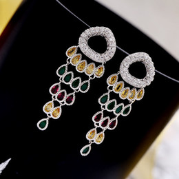 Wholesale Green Dinner Plates - Europe and the United States creative design cute fish tail earrings personalized wild earrings dinner dress with retro earrings