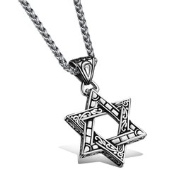 Wholesale Stainless Steel Star Charm - Six-Pointed Star Retro Pendant Popular Titanium Steel Women Men Personality Necklace Jewelry Classical Design Birthday Present