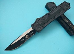 Wholesale China Tactical Knife - China knife MICROTECH Scarab BLACK FINISH Single Serrated edge tanto drop point Pocket Clip Sheath camping tool 2 styles B539M