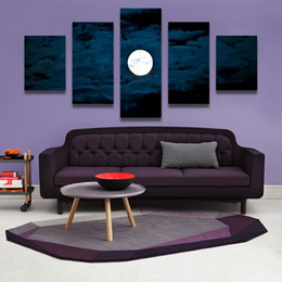 Wholesale Moon Painted Wall - 5PCS Home Decor Canvas Wall Art Decor Painting MOON AT NIGHT Wall Picture Canvas Art Print from Photo on Canvas for the Home