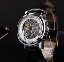 Wholesale Luminous Watches For Men - Fashion Winner Black Leather Band Stainless Steel Skeleton Mechanical Watch For Man Gold Mechanical Wrist Watch Free Shipping