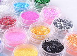 Wholesale Metal Glitter Nail Art Tool - Wholesale-24 Colors Mixed Shape Metal Shiny 18 Color acrylic Powder liquid Glitter Nail Art Tool Kit UV Dust gem Nail Tools Set