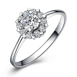 Wholesale Whoesale Wedding - New 925 Sterling Silver Floral Ring Women Wedding Flower Heart Love Jewelry Fashion Crystal Gift for Whoesale