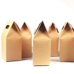 Wholesale Handle Wedding Paper Bag - Wholesale 150Pcs Lot 10.5*15+6cm Kraft Paper Box Gift Packing Tote Bag With Handle For Wedding Favor Candy Chocolate Food Storage Packaging