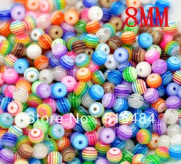 Wholesale 8mm Striped Resin Beads - Wholesale-Wholesale 300PCs Mixed Striped Round Resin Spacer Beads 8mm Dia.Fashion Jewelry Making
