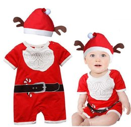 Wholesale Cheap Christmas Reindeer - Baby Christmas Clothing Cartoon Santa Claus Reindeer Rompers Jumpsuits With Hats 2pcs Suits Kids Festival Party Clothes Cheap Free DHL 522