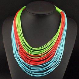 Wholesale Resin Neon Necklace - 2015 Unique Design String Chain Necklaces Women Weaving Collar Neon Colors Statement Necklaces Fashion accessories N3120