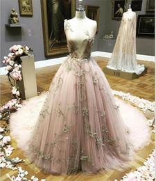 Wholesale Fairy Deco - Fairy A Line Prom Dresses Evening Wear Free Shipping Deep V Neck 3D Floral Applique Evening Gowns Custom Made Formal Prom Dresses